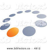 3d Vector Clipart of a Pre-Made Logo of a Single Orange Dot in a Circle of Blue and Gray Dots by Beboy