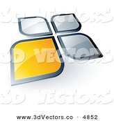 3d Vector Clipart of a Pre-Made Logo of a Single Yellow Square or Petal Standing out from Gray Ones by Beboy