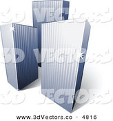 3d Vector Clipart of a Pre-Made Logo of a Trio of Tall City Skyscrapers by Beboy