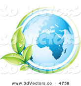 3d Vector Clipart of a Pre-Made Logo of a Vine Circling the Planet Earth by Beboy