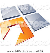 October 11th, 2012: 3d Vector Clipart of a Pre-Made Logo of a White Arrow in an Orange Flooring Tile, Beside Three Blue Tiles by Beboy