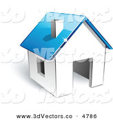 November 28th, 2012: 3d Vector Clipart of a Pre-Made Logo of a White House with a Blue Roof by Beboy