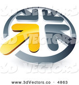 June 2nd, 2013: 3d Vector Clipart of a Pre-Made Logo of a Yellow Arrow Completing a Circle of Chrome Arrows by Beboy