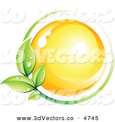 3d Vector Clipart of a Pre-Made Logo of a Yellow Orb Circled by a Green Vine with Dew Drops by Beboy