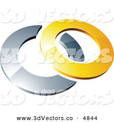3d Vector Clipart of a Pre-Made Logo of a Yellow Shiny 3d Ring over a Silver Circle by Beboy
