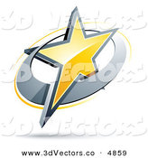 May 29th, 2013: 3d Vector Clipart of a Pre-Made Logo of a Yellow Star in a Chrome Circle on White by Beboy