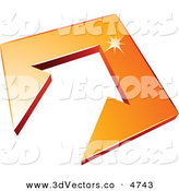 3d Vector Clipart of a Pre-Made Logo of an Arrow in an Orange Tile Pointing up by Beboy