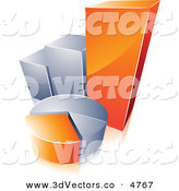3d Vector Clipart of a Pre-Made Logo of an Orange and Silver Pie Chart and Bar Graph on White by Beboy
