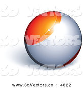 3d Vector Clipart of a Pre-Made Logo of an Orange and Silver Sphere by Beboy