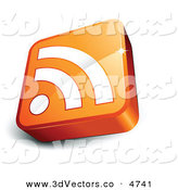 3d Vector Clipart of a Pre-Made Logo of an Orange and White RSS Cube with a Shadow by Beboy