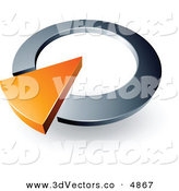 3d Vector Clipart of a Pre-Made Logo of an Orange Arrow Completing a Silver Circular Dial by Beboy