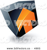 June 13th, 2013: 3d Vector Clipart of a Pre-Made Logo of an Orange Arrow Pointed up on a Tilted Black Cube by Beboy