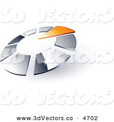 3d Vector Clipart of a Pre-Made Logo of an Orange Arrow Pointing Inwards in a Circle of Silver Squares by Beboy