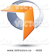 December 19th, 2012: 3d Vector Clipart of a Pre-Made Logo of an Orange Boomerang or Arrow over a Chrome Circle on a White Background by Beboy