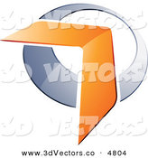 December 16th, 2012: 3d Vector Clipart of a Pre-Made Logo of an Orange Boomerang or Arrow over a Chrome Circle on White by Beboy