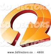 December 12nd, 2012: 3d Vector Clipart of a Pre-Made Logo of an Orange Circling Arrow on White by Beboy