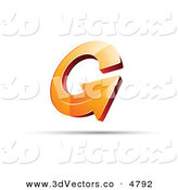 December 6th, 2012: 3d Vector Clipart of a Pre-Made Logo of an Orange Circling Arrow with a Shadow by Beboy
