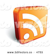 3d Vector Clipart of a Pre-Made Logo of an Orange Cube with a White RSS Symbol on White by Beboy
