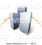 3d Vector Clipart of a Pre-Made Logo of an Orange Dash Behind Three Tall City Skyscrapers on White by Beboy
