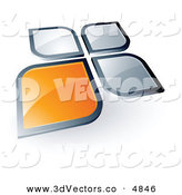 3d Vector Clipart of a Pre-Made Logo of an Shiny Orange Square or Petal Standing out from Gray Ones by Beboy