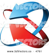 3d Vector Clipart of a Pre-Made Logo of Blue and Red Arrows Circling on White by Beboy