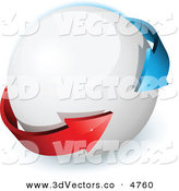 3d Vector Clipart of a Pre-Made Logo of Blue and Red Arrows on a White Circular Orb by Beboy