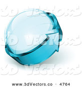 3d Vector Clipart of a Pre-Made Logo of Blue Arrow Circling a Glass Orb by Beboy