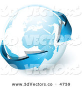 3d Vector Clipart of a Pre-Made Logo of Blue Arrows Circling Around Planet Earth by Beboy