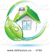 December 5th, 2012: 3d Vector Clipart of a Pre-Made Logo of Dewy Green Leaf Circling a House with a Green Roof by Beboy
