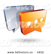 3d Vector Clipart of a Pre-Made Logo of Gray and Orange Chat Windows on White by Beboy