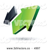 3d Vector Clipart of a Pre-Made Logo of Green and Gray Arrows Going in Opposite Directions on White by Beboy