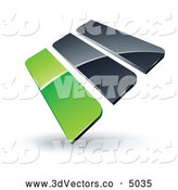 3d Vector Clipart of a Pre-Made Logo of Green and Gray Bars on White by Beboy