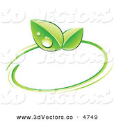 3d Vector Clipart of a Pre-Made Logo of Green Dew Covered Leaves and a Circle on White by Beboy