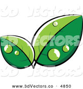 3d Vector Clipart of a Pre-Made Logo of Large Lush Green Leaves with Dew by Beboy