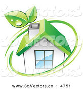 3d Vector Clipart of a Pre-Made Logo of Leaves and a Green Circle over an Eco Friendly House by Beboy
