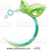 3d Vector Clipart of a Pre-Made Logo of Leaves and Colors in a Blue Circle by Beboy
