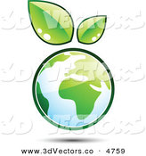 3d Vector Clipart of a Pre-Made Logo of Leaves Sprouting on Top of a Globe of Earth by Beboy