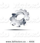 December 17th, 2012: 3d Vector Clipart of a Pre-Made Logo of One Shiny Chrome Cog by Beboy