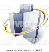 3d Vector Clipart of a Pre-Made Logo of Orange and Blue Lines Circling a Trio of Tall City Skyscrapers by Beboy