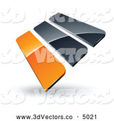 September 26th, 2013: 3d Vector Clipart of a Pre-Made Logo of Orange and Gray Bars on White by Beboy