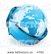 3d Vector Clipart of a Pre-Made Logo of Planet Earth Being Circled by a Blue Arrow on White by Beboy