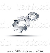December 21st, 2012: 3d Vector Clipart of a Pre-Made Logo of Shiny Chrome Gears by Beboy