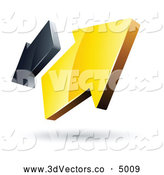 3d Vector Clipart of a Pre-Made Logo of Shiny Yellow and Gray Arrows Going in Opposite Directions by Beboy