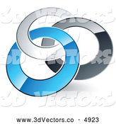 July 13th, 2013: 3d Vector Clipart of a Pre-Made Logo of Silver, Gray and Blue Rings Entwined on White by Beboy