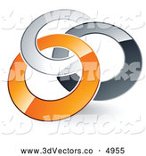 3d Vector Clipart of a Pre-Made Logo of Silver, Gray and Orange Linked Rings Entwined by Beboy