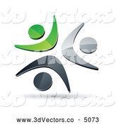 3d Vector Clipart of a Pre-Made Logo of Three Green, Chrome and Black People Celebrating or Dancing Together by Beboy
