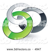 3d Vector Clipart of a Pre-Made Logo of Three Silver, Gray and Green Rings Entwined by Beboy