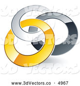 3d Vector Clipart of a Pre-Made Logo of Three Silver, Gray and Yellow Rings Entwined by Beboy