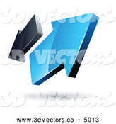 3d Vector Clipart of a Pre-Made Logo of Two Blue and Gray Arrows Going in Opposite Directions by Beboy