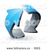 3d Vector Clipart of a Pre-Made Logo of Two Circling Blue Arrows on White by Beboy